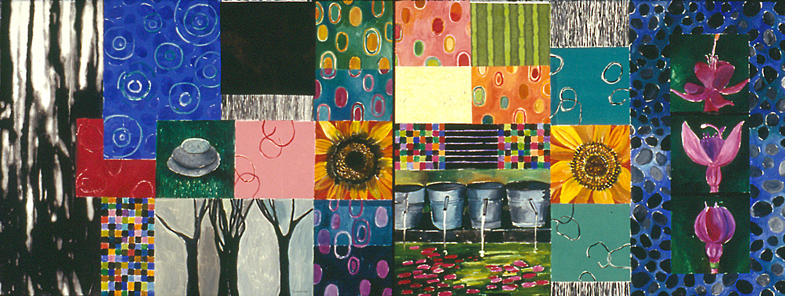Large Diptych Monotypes Sunflowers