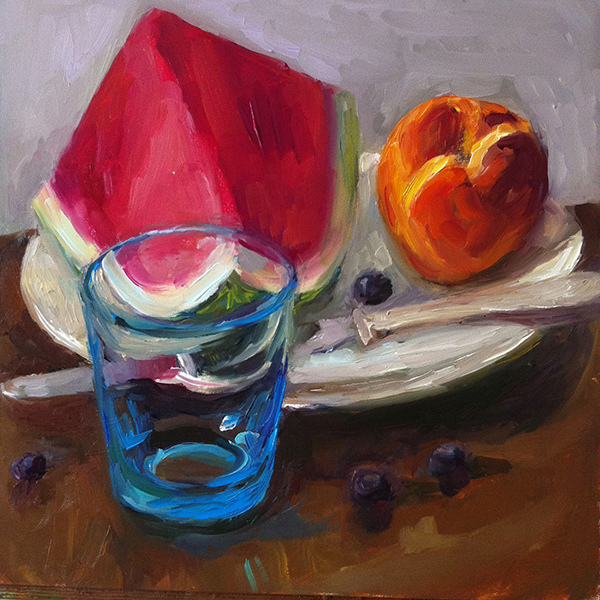 Fruit Paintings Blue Glass With Fruit