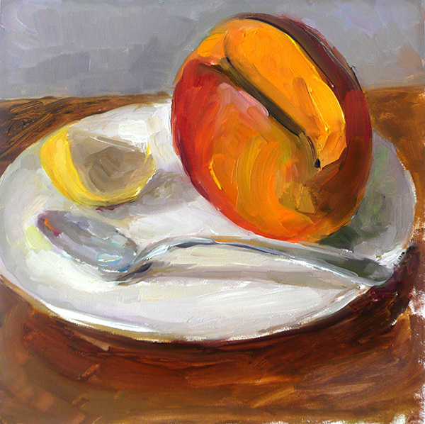 Fruit Paintings Mango and Lemon With Spoon