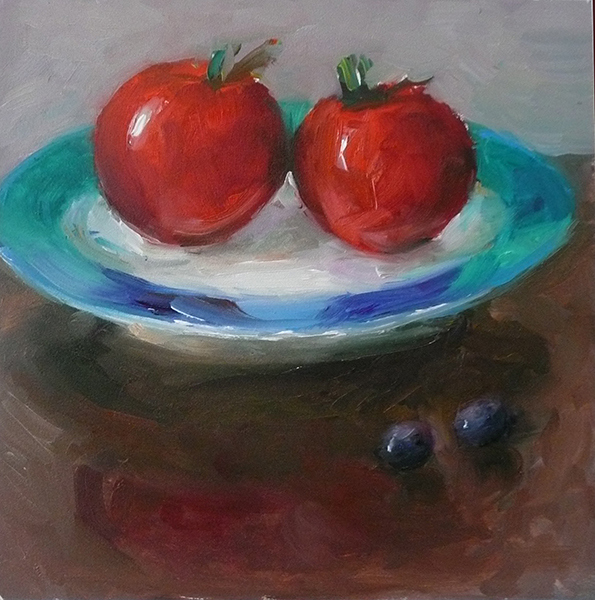Fruit Paintings Cherry Tomatoes on Green Plate