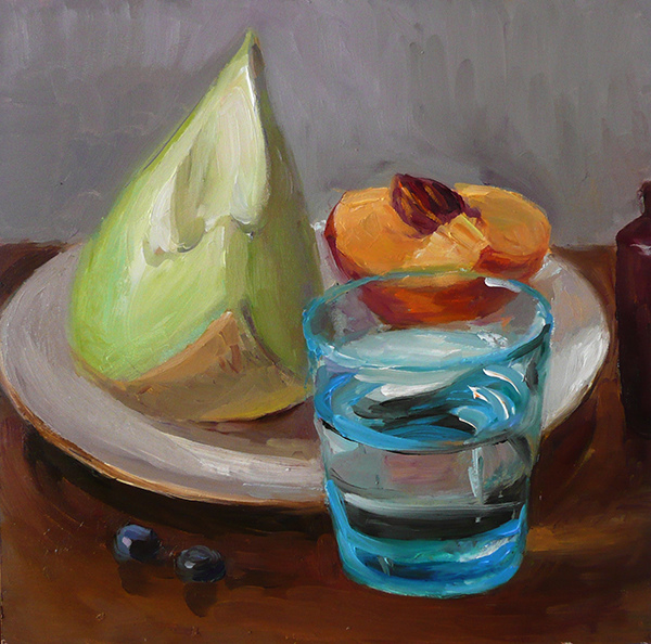 Fruit Paintings Melon, Peach and Blue Glass