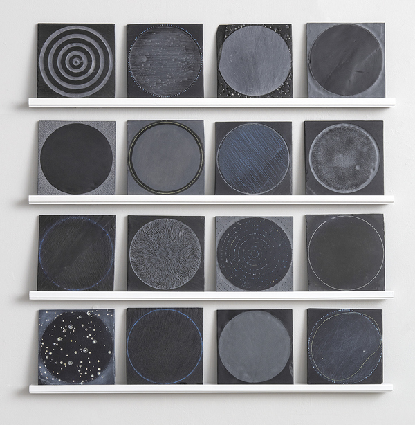 CAROLYN WEBB  Stone  Black slate, encaustic pigment, wood shelf