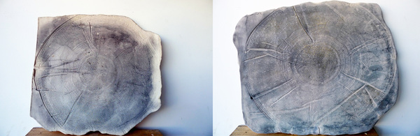 Catherine Fairbanks Ceramics/z Deployed automotive airbags imprinted on clay: high fire ceramic