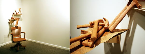 Catherine Fairbanks To Form Hammers, wood, bandaids, chair, and adhesive