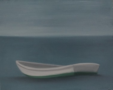 CELINE MCDONALD Boats oil on paper on wood