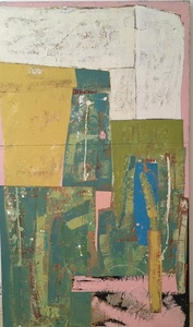 DANIEL ANSELMI Pageantry Series  Artist Painted Paper Collage on Panel