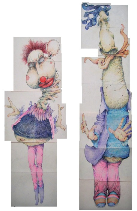 David Geiser Drawings / Fiends / Wackos / Clown Oracle paintings pen @ ink, prismacolor pencil on manila folders