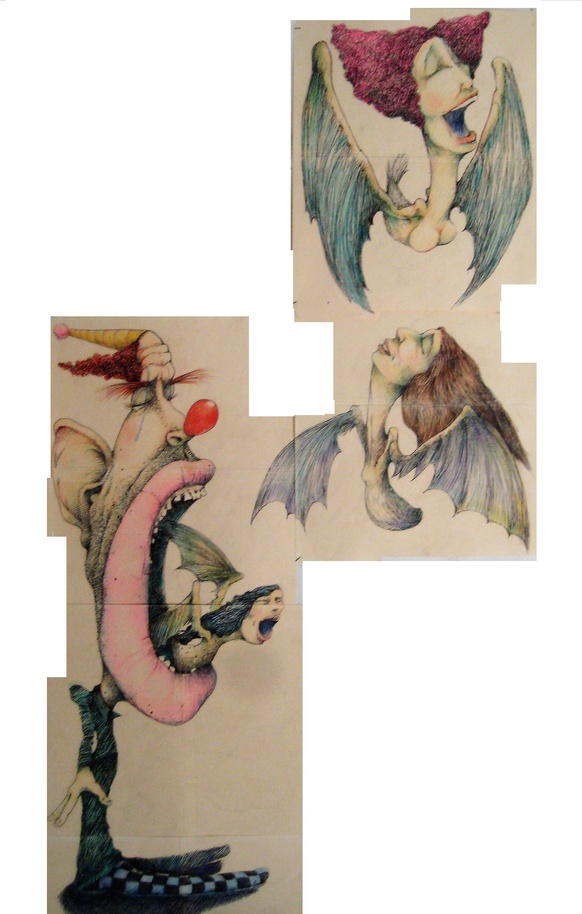 David Geiser Drawings / Fiends / Wackos / Clown Oracle paintings pen @ ink , prismacolor pencil on manila folders