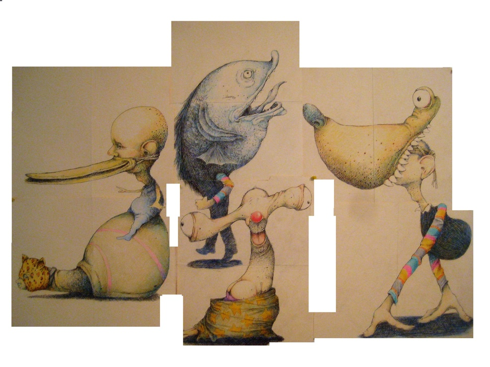 David Geiser Drawings / Fiends / Wackos / Clown Oracle paintings ink, prismacolor pencil on manila folders