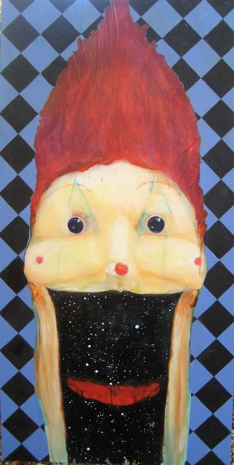 David Geiser Drawings / Fiends / Wackos / Clown Oracle paintings oil, m/m on board