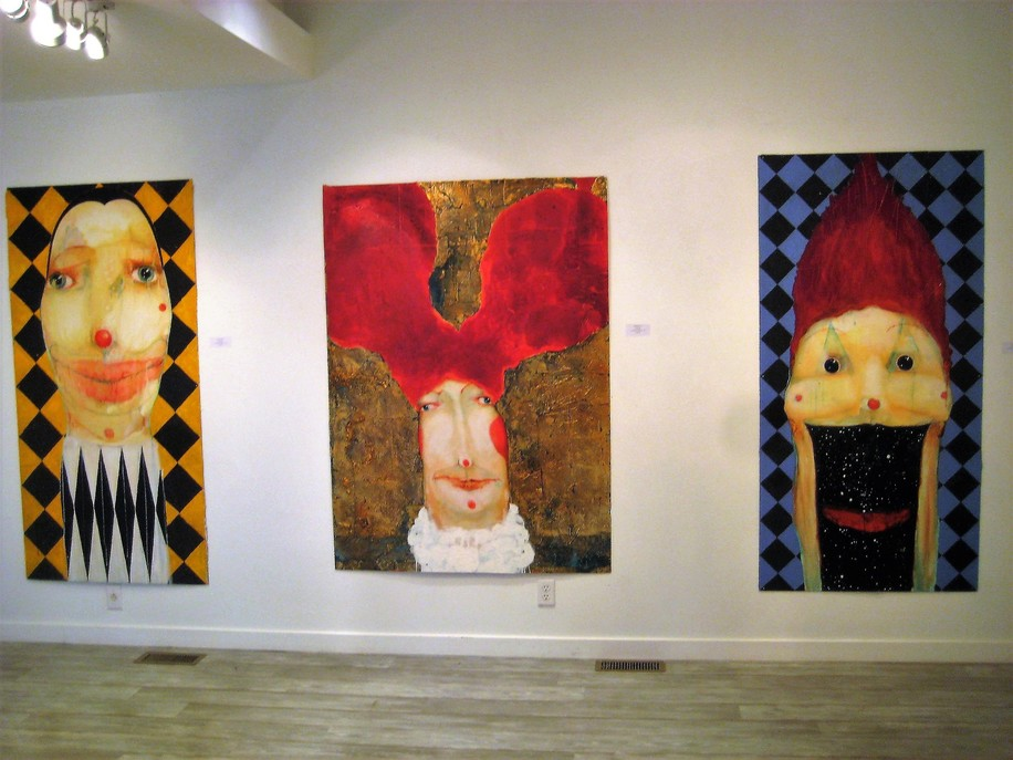 David Geiser Drawings / Fiends / Wackos / Clown Oracle paintings oil, gold leaf, m/m on board