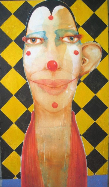 David Geiser Drawings / Fiends / Wackos / Clown Oracle paintings oil/ m/m on board