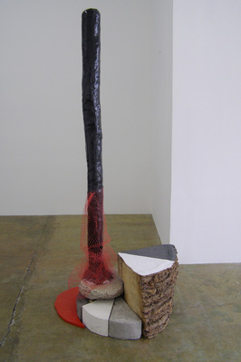 David McDonald Self Portraits Mortar, Wood, Hydrocal, Plastic Netting, Enamel Paint