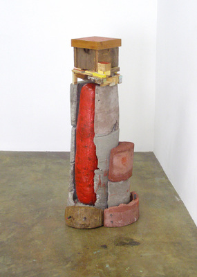 David McDonald Self Portraits Mortar, Wood, Hydrocal, Rebar, Cardboard, Enamel Paint