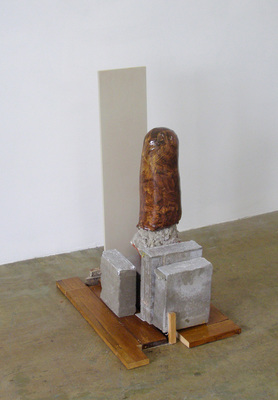 David McDonald Self Portraits Wood, Mortar, Hydrocal, Stone, Enamel Paint