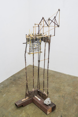 David McDonald Various works 2010-2015 Rebar, Wood, Mortar, Steel, Enamel Paint