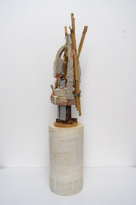 David McDonald Ten Stages of Understanding Bamboo, Hydrocal, Wood, Pigment, Wire, Sand, Plaster Wrap, Polyurethane