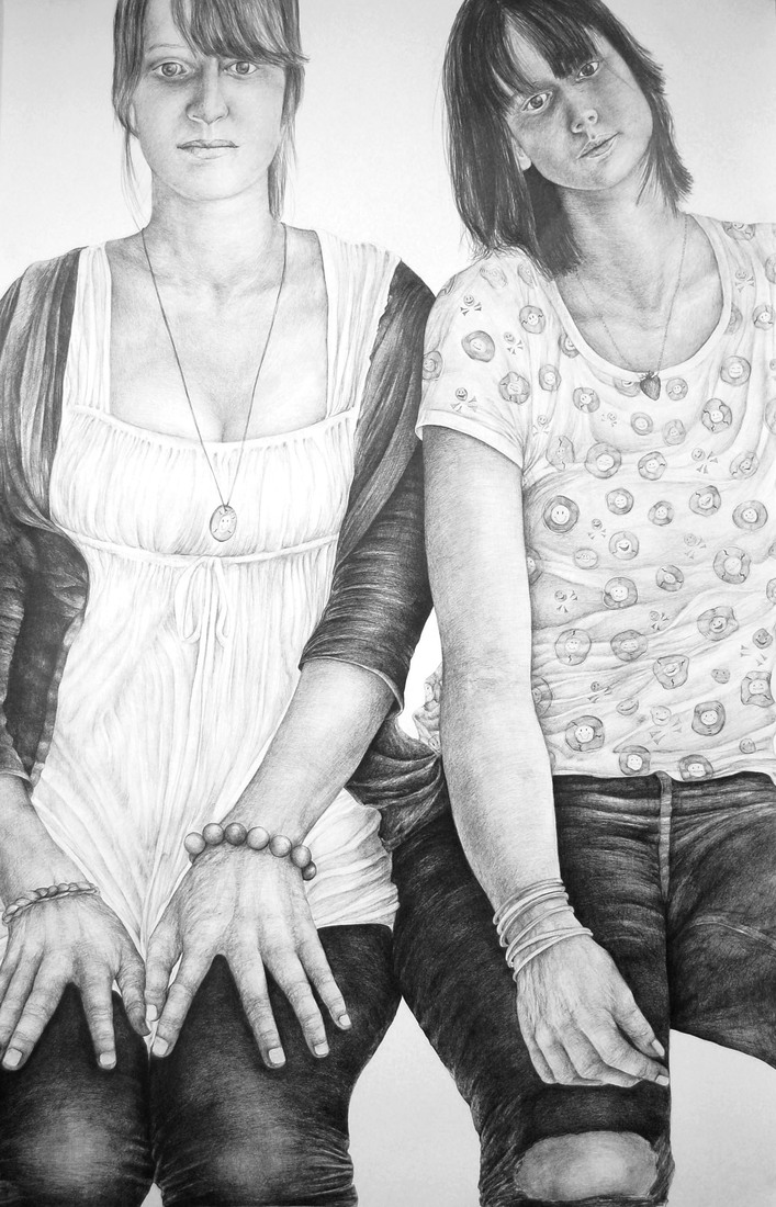 Drawings 2008-2010 Two Seated Teenagers / Deux Adolescentes Assises