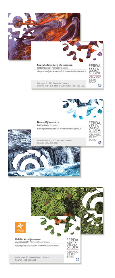 EDDA VALBORG SIGURDARDOTTIR Graphic Design Various print design – Shown: business cards/front back