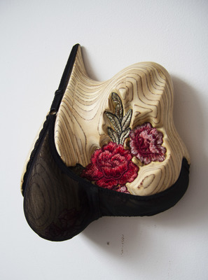 Elisa Ortega Montilla Objectifying  Reclaimed Plywood and underwear with embroidery flower