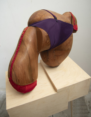 Elisa Ortega Montilla Objectifying  Reclaimed redwood and underwear