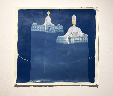 ELISA ORTEGA MONTILLA 8 by 8 Acrylic and cyanotype on paper