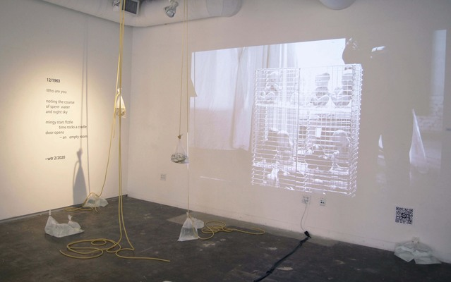 ELISA ORTEGA MONTILLA 8 by 8  Video + Installation (Latex tubing, water, clear plastic bag) and poem