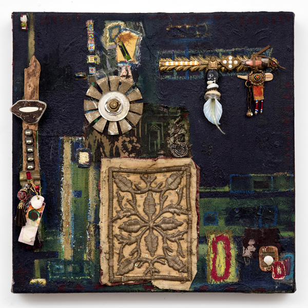 Ellen Devens Mixed media on canvas oil paint, wood, glass, antique textile, original works on paper, fabric, beads, stones, metal, shell, suede cord