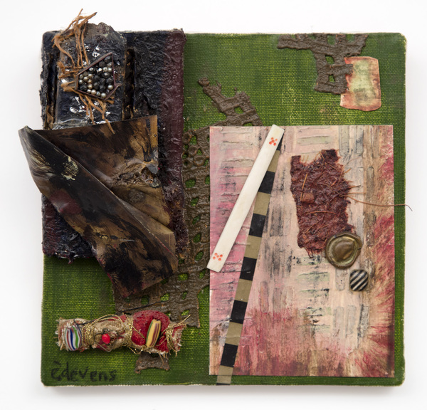 Ellen Devens Mixed media on canvas oil paint, metal, handmade fabric bundles, beads, stones, old ivory game piece, works on paper,