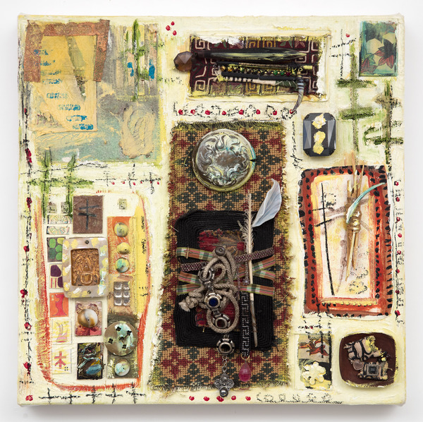 Ellen Devens Mixed media on canvas original works on paper, fabric, large Memory bundle with ribbon, cord, glass flower and dried grasses, smaller sacred bundles in wood tray with blue glass element