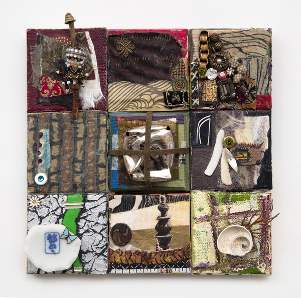 Ellen Devens Small works fabric, oil paint, metal, shell, found remnants, glass stones, wood