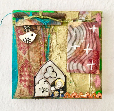 Ellen Devens Small works Old Middle Eastern textiles, paper, oil paint, twine, bird charm