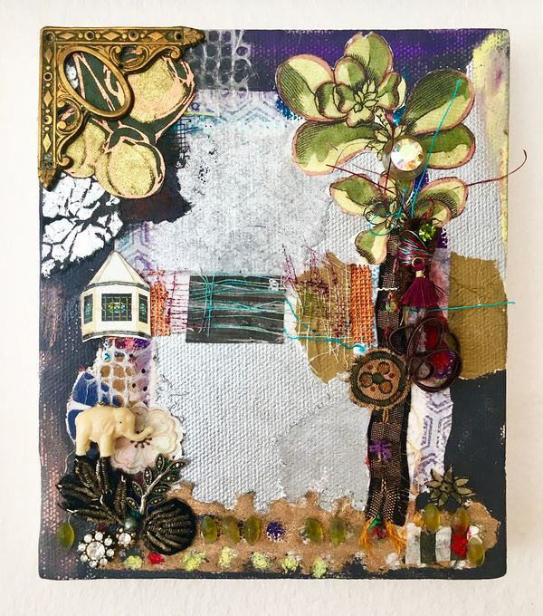 Ellen Devens Small works Oil, various papers, textiles, thread, stones, old metal decorative, celluloid elephant charm.