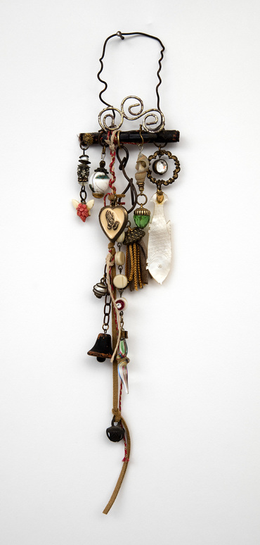 Ellen Devens Sculpture wood, wire, found objects, old enamel heart charm, wooden bell, handmade mini tassel, shell, mother of pearl antique gaming chip, glass beads