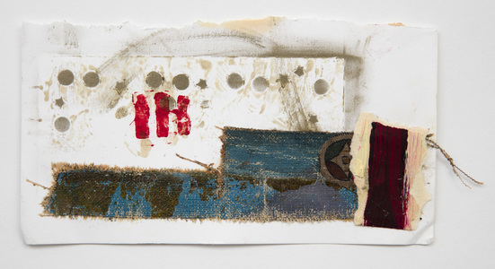 Ellen Devens Works on paper paper and torn canvas