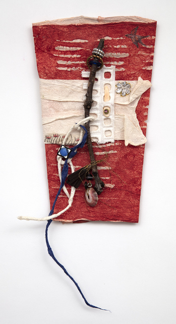 Ellen Devens Works on paper Joomchi (handmade Korean paper), textiles, wood, glass, shell, cord, hand crafted suede tassel, beads and antique enamel element