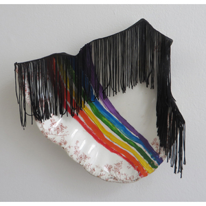 FAR x WIDE BEER, SODA, CIGARETTES, LAMPSHADES oil and fringe on broken found ceramic platter