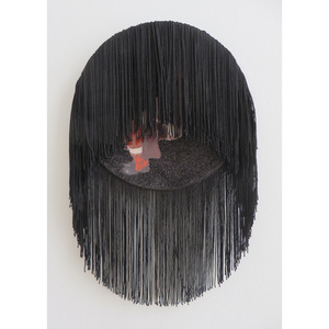 FAR x WIDE BEER, SODA, CIGARETTES, LAMPSHADES oil, glitter, and fringe on found ceramic plate