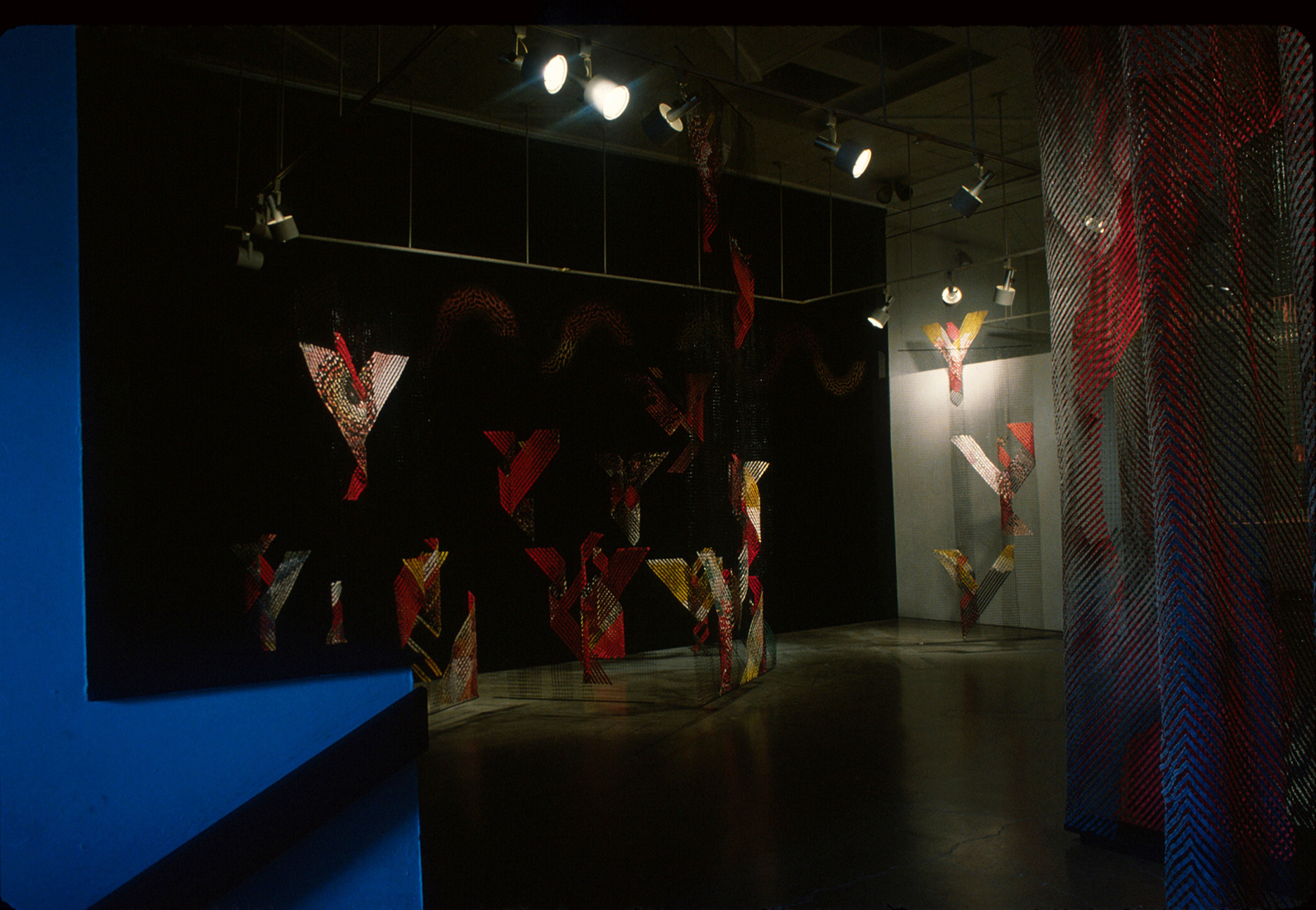 GERHARDT KNODEL Installation Work 1989-1997 Walls, a gallery installation, 1991, cotton, silk, propylene net, wood and metal support, Seattle Pacific University, Washington