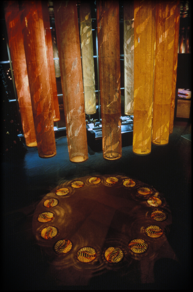 GERHARDT KNODEL Architectural Commissions 1977-2005 Provinces of Natur, 1996, fiberglass, acrylic, stainless steel, metal supports, nylon carpet, ceiling height 336 in., carpet diameter 192 in., American Center, Southfield, Michigan
