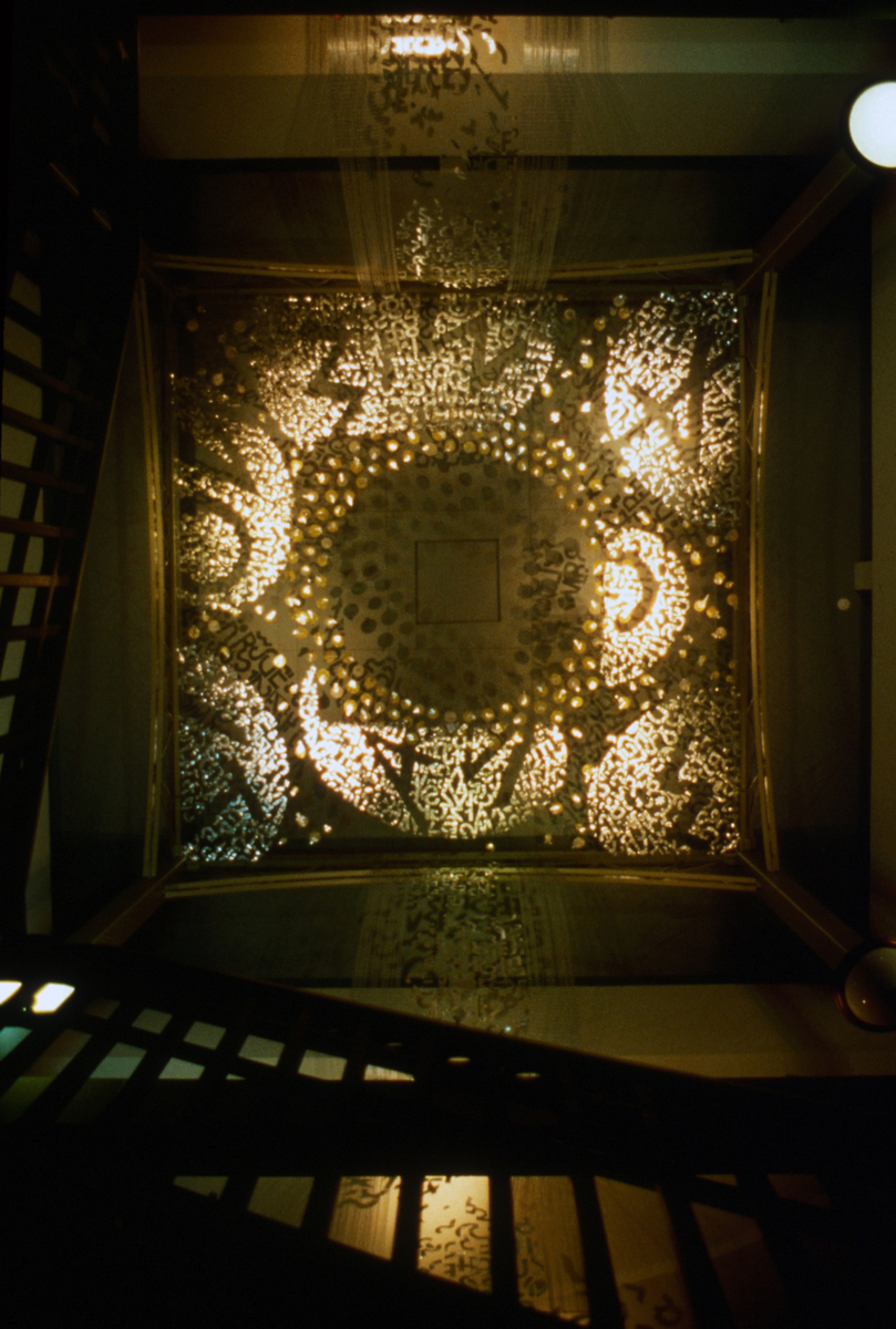 GERHARDT KNODEL Architectural Commissions 1977-2005 Skydance at the Western Gate, 1998, metallic foil, polypropylene net, metallic gimp, 180 x 240 x 240 in., Northville Public Library, Northville, Michigan