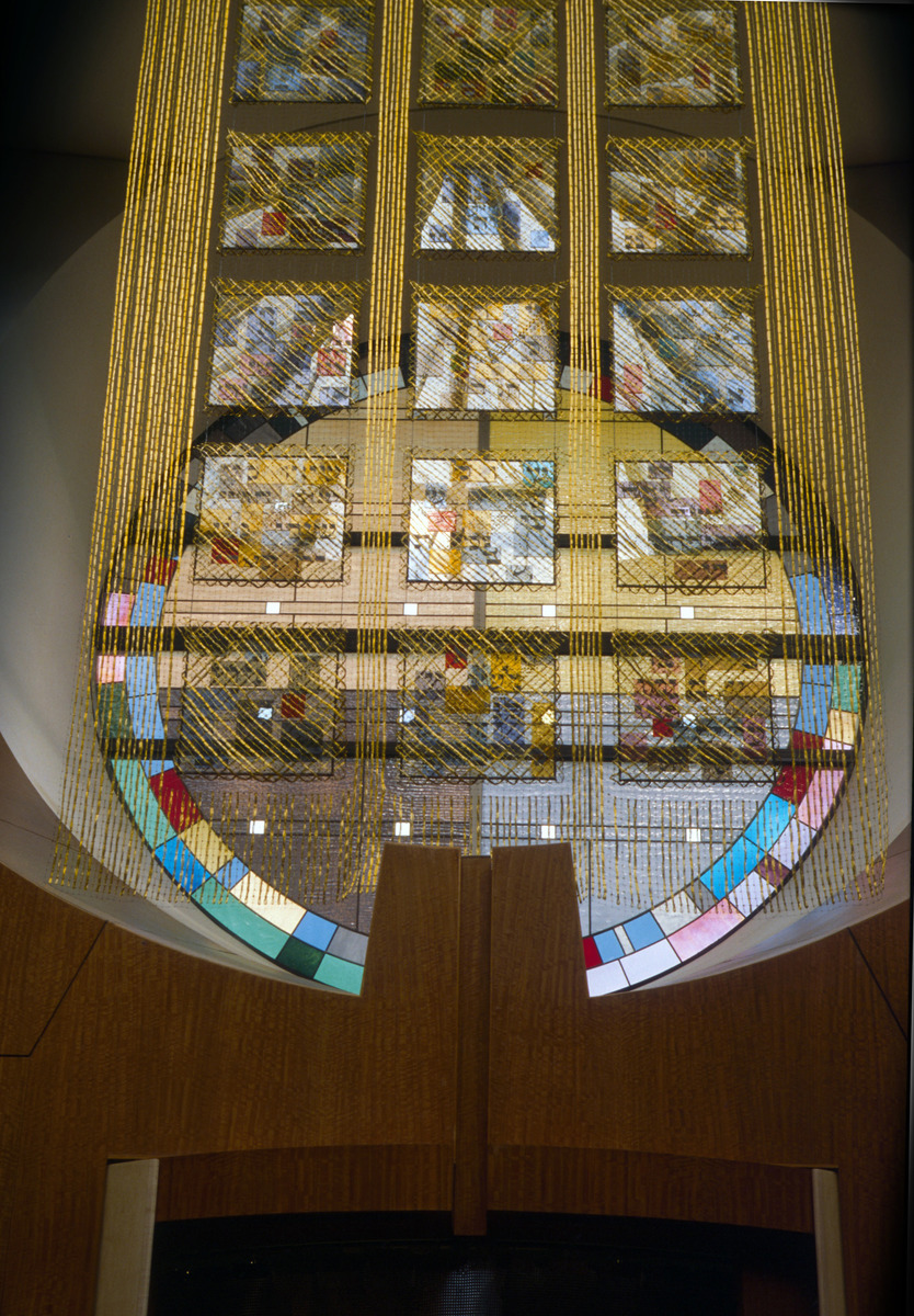 GERHARDT KNODEL Architectural Commissions 1977-2005 Song of Songs, 1995, architectural stained glass window and curtain of metallic gimp and polypropylene nylon, containing panels of printed, fused glass, 144 x 240 x 96 in.