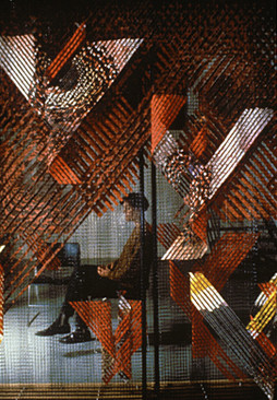 GERHARDT KNODEL Installation Work 1989-1997 Birdwall, 1989, screen-printed cotton bonded with silk, polypropylene net, wood support, 96 x 180 x 12 in.