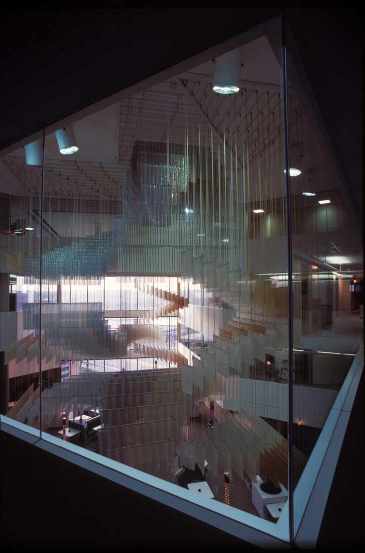 GERHARDT KNODEL Architectural Commissions 1977-2005 Grand Exchange, 1981, wool, Mylar, metal, nylon, Height: 62.4 in. Cincinnati Bell of Ohio