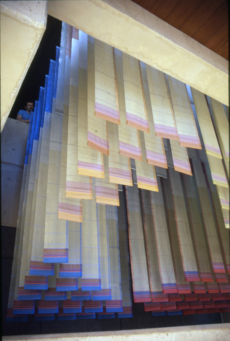 GERHARDT KNODEL Architectural Commissions 1977-2005 Sky Ribbons: An Oklahoma Tribute, 1978, wool, Mylar, metallic gimp, metal supports, 168 x 144 x 240 in. Alfred P. Murray Federal Building, Oklahoma City