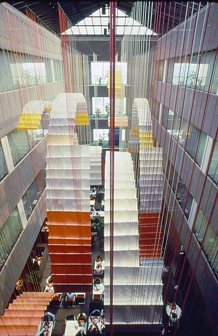GERHARDT KNODEL Architectural Commissions 1977-2005 Sky Court, 1978, wool, Mylar, nylon, Xerox World Headquarters, Stamford, Connecticut