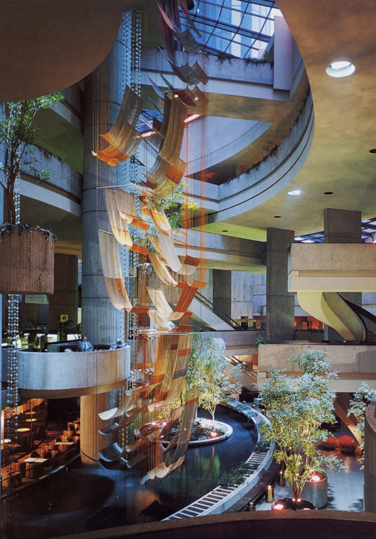 GERHARDT KNODEL Architectural Commissions 1977-2005 Free Fall, 1977, Mylar, wool, rayon, metallic gimp, acrylic tubes, nylon cord, steel cable, 840 x 180 x 96 in. Atrium of Plaza Hotel, Renaissance Center, Detroit, Michigan