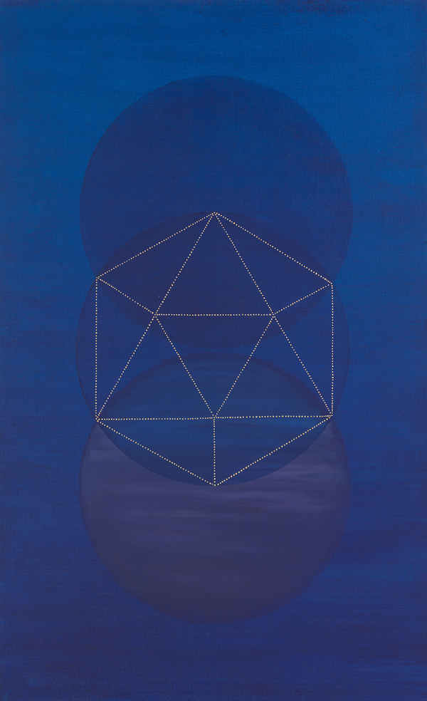 Platonic Solids Series cold wax and oil on linen