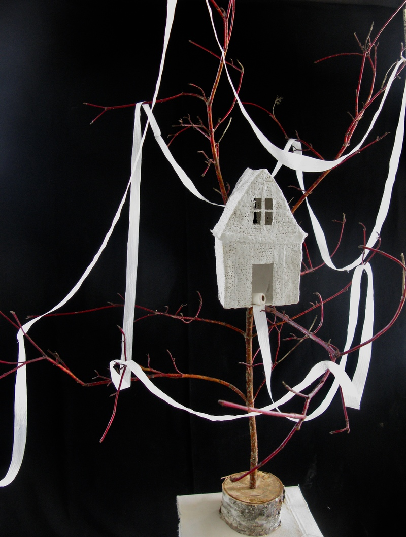 HASSO EWING visual artist Works in Plaster plaster gauze. red twig dogwood, birch, toilet paper