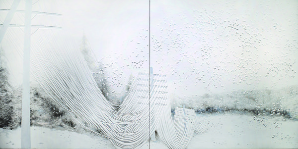 HON EUI CHEN    waltzing in white plaster, acrylic, silverpoint on panels